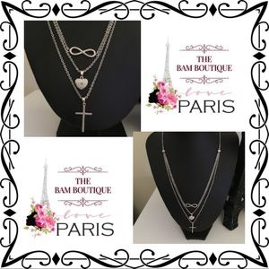 Jewelry - Silvertone Infinity/Heart/Cross Layer Necklace